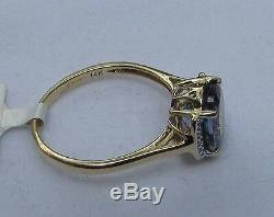 2.87 cts Genuine Bi Color Tanzanite Solitaire Size 7 Ring 14k Yellow Gold Accent