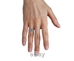 2.9 Ct Round Cut Halo Engagement Real Accent Diamonds Ring Solid 14K White Gold