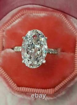 2ct Oval Cut VVS1 Diamond Accent Solitaire Engagement Ring 14k White Gold Over