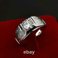 2ct Round Diamond Accents with Solitaire Men Engagement Ring 14k White Gold Over