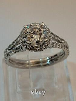 2ct Solitaire Engagement Ring with Diamond Accents 14k Solid White Gold