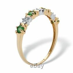 32 TCW Genuine Emerald and Diamond Accent 10k Gold Ring