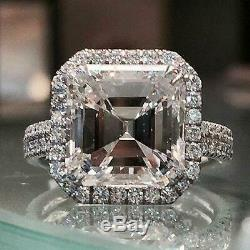 3Ct Asscher Cut Diamond Halo Engagement Ring Solid 14K White Gold Round Accents