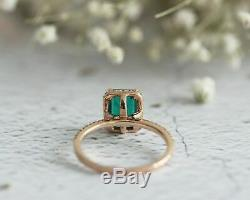 3Ct Green Emerald Diamond Accent Halo Women Engagement Ring Solid 14K Rose Gold
