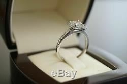 3Ct Princess Cut Diamond Halo Engagement Ring Solid 14K White Gold Round Accent