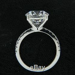 3.00ct Round cut Diamond Solitaire With Accents Engagement Ring 10k White Gold