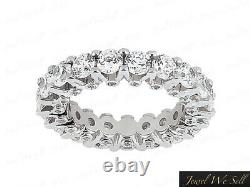 3.05Ct Round Diamond Shared Prong Accent Eternity Band Ring 14k White Gold GH I1