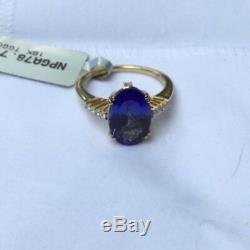 3.69 cts AAAA Tanzanite Solitaire Size 7 Ring 18k Yellow Gold Diamond Accents