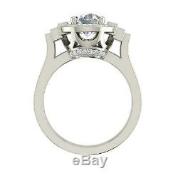 3 Ct Halo Baguette Accents Round Cut Diamond Engagement Ring White Gold