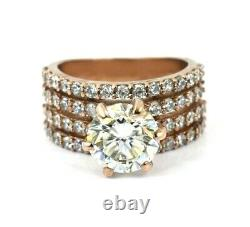3 Ct Off White Diamond Ring With Diamond Accents in Rose Gold WATCH VIDEO