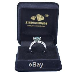 3 Ct Round Cut Blue Diamond Solitaire Ring in White Gold With Accents