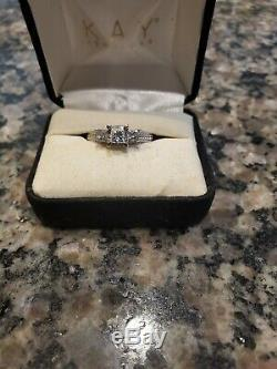 3 STONE PRINCESS CUT DIAMOND RING With ACCENTS 1ct TW 14K white gold size 7