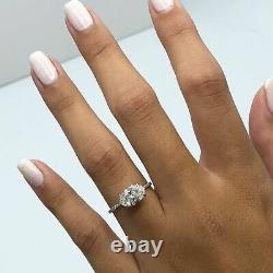 3ct Oval Cut VVS1 Diamond Accent Solitaire Engagement Ring 14k White Gold Finish