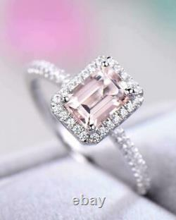 4Ct Emerald Cut Peach Morganite Halo Ring 14k White Gold Over with Round Accents