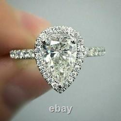 4Ct Pear Cut Diamond Halo Engagement Ring Solid 14K White Gold Round Accents