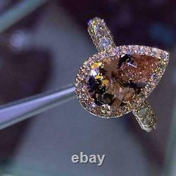 4Ct Pear Cut Peach Morganite Diamond Accent Engagement Ring 14ct Rose Gold Over
