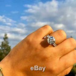 4Ct Round Cut Diamond Solitaire with Accent Engagement Ring Solid 14K White Gold