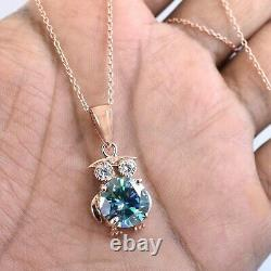 4.6Ct Blue Diamond Solitaire Tortoise Pendant Accents in Rose Gold