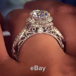 4.80 Ct Round D/VVS1 Solitaire WithAccents Engagement Wedding Ring 10K White Gold