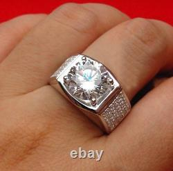 4ct Round Cut Diamond Mens Wedding Ring 14k SOLID White Gold Accent Solitaire