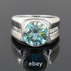 5 Ct Blue Diamond Solitaire Ring In White Gold With White Diamond Accents