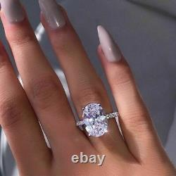 6Ct Oval Cut Diamond Solitaire Engagement Ring 14k White Gold Over Round Accents