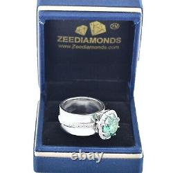 6.85 Ct Blue Diamond Solitaire Ring In White Gold With White Diamond Accents