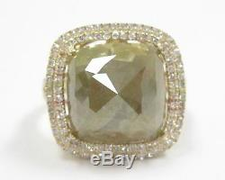 7.95 TCW Radiant Natural Green Diamond with Accents Cocktail Ring 14k Yellow Gold