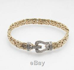 7 Diamond Accent Byzantine Bracelet with Fold Over Clasp REAL 14K Yellow Gold