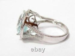 8.74 TCW Oval Aquamarine & Diamond Accents Solitaire Ring Size 7 14k White Gold