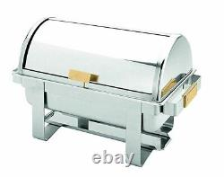 8 Qt Roll Top Chafer Gold Accent Chafing Dish St/Steel Buffet Warmer + Apron
