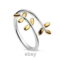 925 Sterling Silver Delicate Petite Cuff Ring with 18K Gold Accent Laurel Wreath