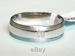 9CT WHITE GOLD DIAMOND ACCENT6mm HEAVY WEDDING RING Sizes N, O, P, Q, S, T (RRP £300)
