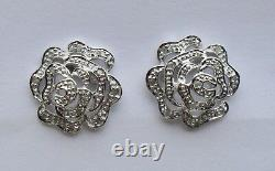 9ct Gold Diamond Accent Rose Flower Stud Earrings White Gold New & Boxed