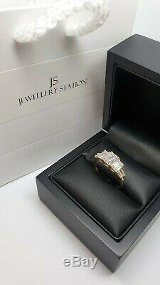 9ct Yellow Gold 3 stone accent created diamond Ladies ring size P gift boxed
