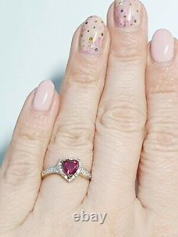 9ct Yellow Gold Ruby And Diamond Accent Heart Ring Size M