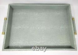 AERIN Mist Green Classic Faux Shagreen Large Serving Tray Gold Tone Accents NEW