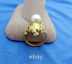 Absolutely Beautiful 18k Gold Natural Pearl accent diamonds OCTOPUS Ring sz 6.5