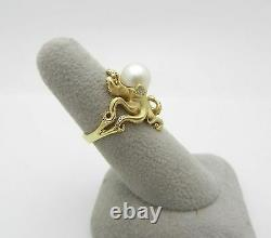 Absolutely Beautiful 18k Gold Natural Pearl with accent diamonds OCTOPUS Ring