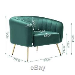 Accent 1 2 Seater Shell Sofa Armchair Velvet Gold Metal Legs Tub Love Seat Couch