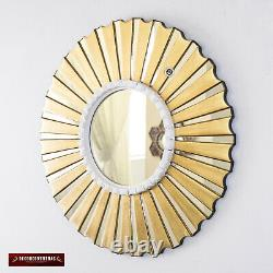 Accent Gold Round Wall Mirror 19.7, Bronze Leaf wood Mirrors for wall from Peru