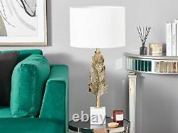 Accent Table Lamp Decorative Base Gold Metal Leaf White Shade SINAI