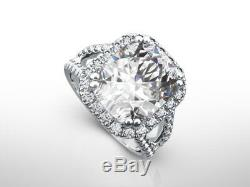 Accents Diamond Halo Ring 14 Karat White Gold Appraised 4 Carats Authentic