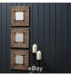 Agadir Set of 3 Unique Accent Decorative Wall mirrors Aged Gold Finish 14 x 14