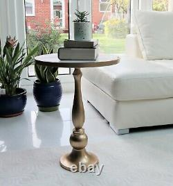 Alegra White Marble Gold Pedestal Accent Side Table/Drink Table-ST88