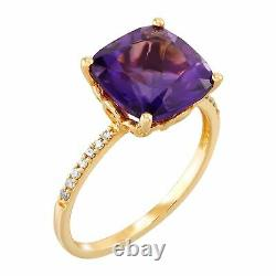 Amethyst Cushion-Cut Ring with Diamond Accents in 14K Gold