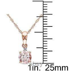 Amour 10k Rose Gold Morganite and Diamond Accent Drop Necklace