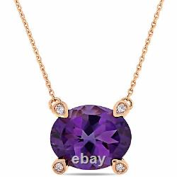 Amour 10k Rose Gold Oval-Cut Amethyst and Diamond Accent Station Necklace
