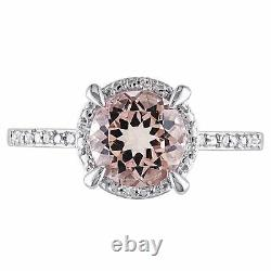 Amour 10k White Gold Morganite and Diamond Accent Halo Ring