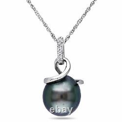 Amour 10k White Gold Tahitian Cultured Pearl and Diamond Accent Necklace